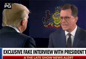 Stephen Colbert fake Hannity Trump interview