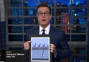 Stephen Colbert Trump Wall Prototypes with razor spikes