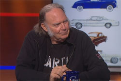 Neil Young talks cars with Stephen Colbert