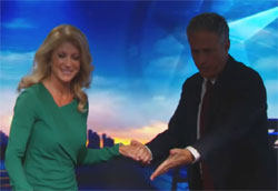 Wendy Davis and Jon Stewart