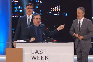 Stephen Colbert & John Oliver crash Jon Stewart's Night of Too Many Stars