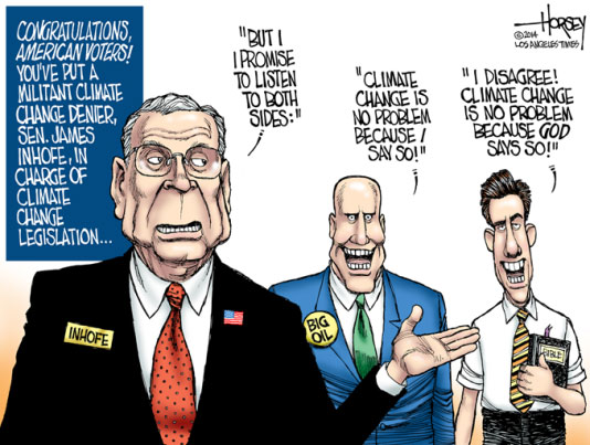 James Inhofe, Koch Brothers and God deny Global Warming