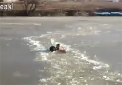Man saves dog drowning in ice