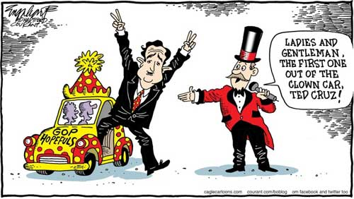 Ted Cruz first out of the GOP clown car
