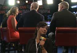 Latino Woman crashes Republican Debate, FOD