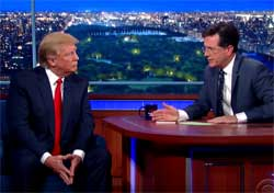 Stephen Colbert helps Donald Trump along