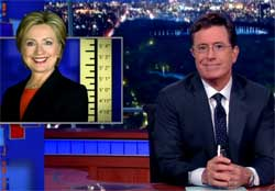 Stephen Colbert: Hillary Clinton hiding that she is growing too tall to be president