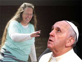 Pope meet with homophobic bigot kim davis