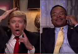 Donald Trump (Jimmy Fallon) and Dr. Ben Carson (David Alan Grier) have a phone conversation while watching the first Democratic debate.