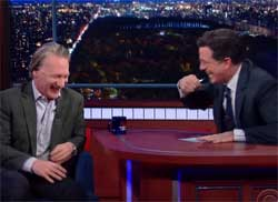 Stephen Colbert tries to bring Bill Maher back to the church