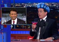 Stephen Colbert, Bobby Jindal drops out to the offensive and bizarre, video