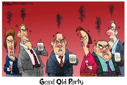 Grand Old Party angry at everyone!
