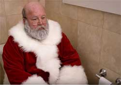 Santa gets caught taking a crap on British TV