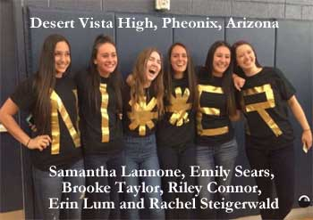 Samantha Lannone, Emily Sears, Brooke Taylor, Riley Connor, Erin Lum and Rachel Steigerwald