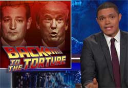 Donald Trump & Ted Cruz compete for top Torture Candidate, Daily Show