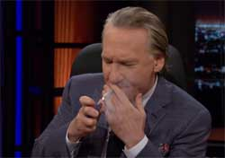 New Rules Bill Maher lights up a doobie live on HBO