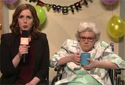 SNL Weekend Update, interview with nasty old lady, March 5 2016