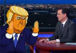 Natural cheesehead Donald Trump gives Stephen Colbert the finger