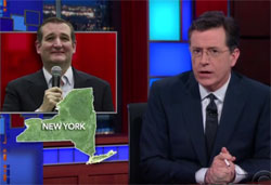 Stephen Colbert, Ted Cruz smile or just slippin