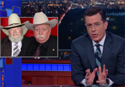 Stephen Colbert, the Charlie Daniels Wilford Brimley NRA ad
