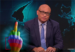 Larry Wilmore makes a fool of Pam Bondi, and gives her the finger