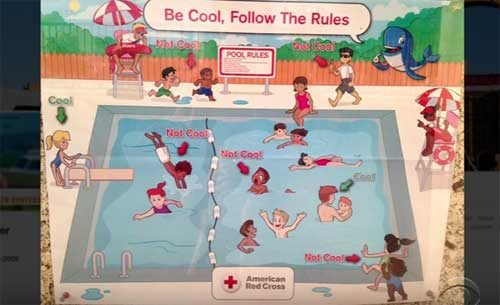 Stephen Colbert, Red Cross pool poster is not cool