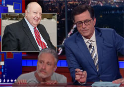 Jon Stewart joins Stephen Colbert with Fox News Firing of Roger Ailes for Sexual Harrassment