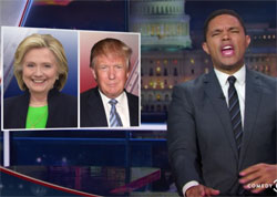 Daily Show, comparing Trump to Hillary is embarrassing