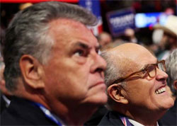 NY's Trump supporters Peter King and Rudy Giuliani defend the Trump's 2nd Amendment solution