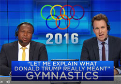 Daily Show Olympic team judge 2nd Amendment Donald Trump event