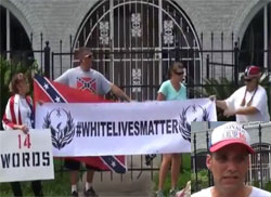 White Lives Matter Trump supporters rally at Houston NAACP headquarters