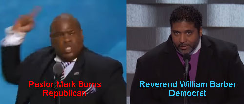 Republican Rev William Barber versus Democrat Pastor Mark Burns, compare an contrast