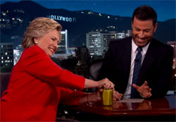 Hillary Clinton opens pre opened pickle jar conspiracy, Jimmy Kimmel