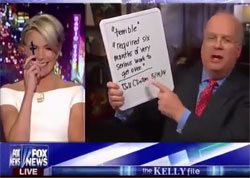 Fox News Megyn Kelly laughs AT Karl Rove and his Romney Landslide white boards
