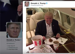 Stephen Colbert, Trump regular guy KFC delivered to his private 757 jet plane