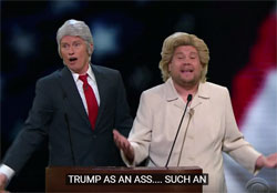 James Corden and Denis Leary as Bill & Hillary sing TRUMP IS AN ASS