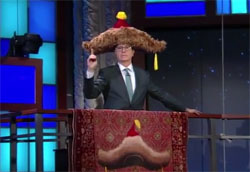 Stephen Colbert Big Furry Hat and Green Bay Packer Cheeseheads