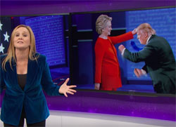 Trump sniffs the Microphone to debate victory! Full Frontal Sam Bee