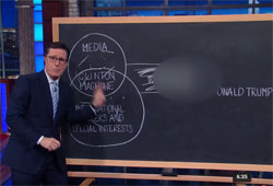Stephen Colbert with his Donald Trump conspiracy board