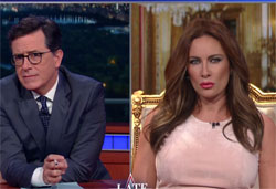 Stephen Colbert interview with Laura Benanti as Melania Trump