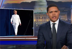 Daily show live Las Vegas debate election spin, the lady in white