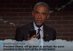 Must See - Obama's Sizzling Mic Drop Burn Destroys Donald Trump - #MeanTweets, Jimmy Kimmel