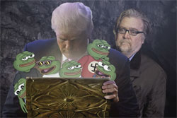 Samantha bee Alt-Right with Steve Bannon and Pepe