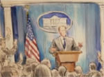 Court room sketch of Sean Spicer won't be the last, Stephen Colbert