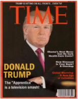President Trump's Fake Time cover on the walls of his Golf Courses