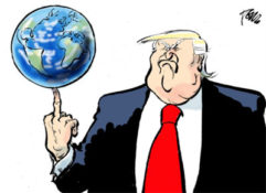 Trump holds the world with just one finger
