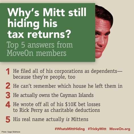 Mitt Romney 5 reasons no tax returns