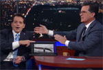 Stephen Colbert interviews Scaramucci the Smooch and survives being stabbed