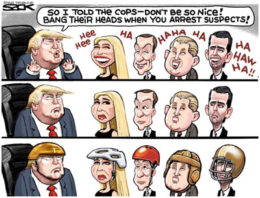 I told the cops to bang the heads of suspects arrested, Donald Trump