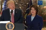 Elaine Chao stands next to Trump as he defends radical Right-wing Terrorism